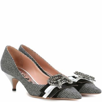 Embellished houndstooth pumps
