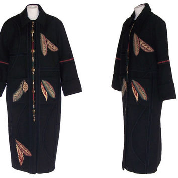 COLORATURA 1980s Wool Coat Vintage Long Black Coat Native American Design L to XL