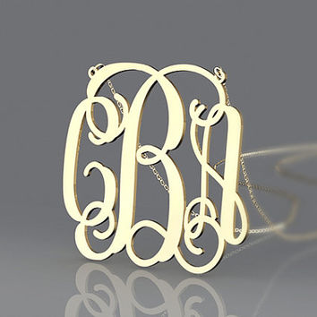 Best present Monogram necklace --1.5 inch monogram gold plated personalized necklace