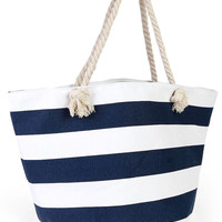 Muscle Beach Rope Tote Bag Blue