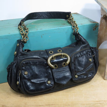 Francesco Biasia Small Black Leather Shoulder Handbag with Brass Chains and Studs • Vintage Leather Purse • Designer Hobo Bag •