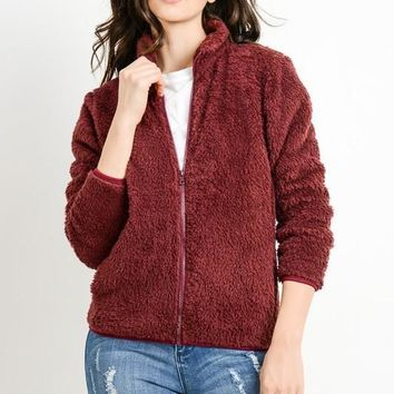 Fleece Zipper Jacket - Burgundy