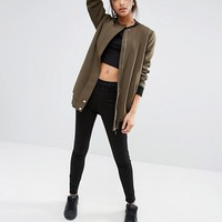 New Look Borg Lined Longline Bomber at asos.com