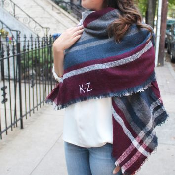 Monogrammed Blanket Scarf - Red, Blue & Grey