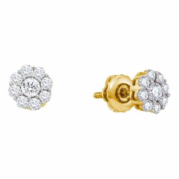 14kt Yellow Gold Women's Round Diamond Flower Cluster Screwback Stud Earrings 1-2 Cttw - FREE Shipping (USA/CAN)