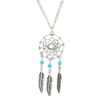 Turquoise Stone Bead Dreamcatcher Feather Charm Pendant Necklace = 1838897796
