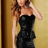 Black Sequin peplum dress from VENUS