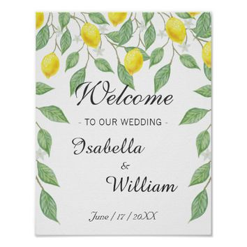 Welcome Sign | Watercolor Lemon Summer Wedding