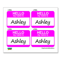 Ashley Hello My Name Is - Sheet of 4 Stickers