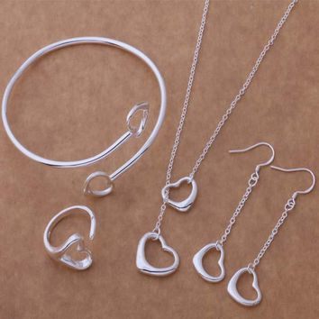 AS078 Hot 925 sterling  silver Jewelry Sets Earring 187 + Necklace 599 + Bangle 045 + Ring 253 /adiaiupa ajvajbca