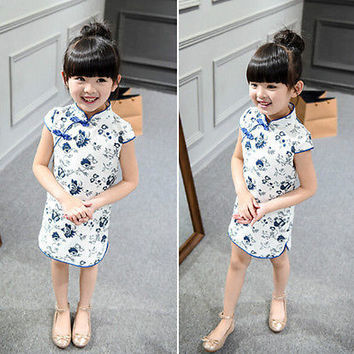 2016 Summer Styles Cardigan Girls Chinese Cheongsam Dress Vintage Children HU
