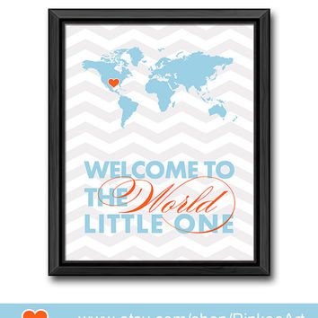 welcome to the world print new parents gift baby boy nursery new baby gifts map print world map nursery chevron travel theme baby decor