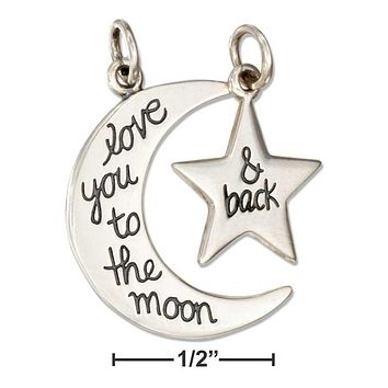 "STERLING SILVER MOON AND STAR ""LOVE YOU TO THE MOON & BACK MESSAGE CHARM SET"