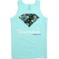 Diamond Supply Co Floral Script Logo Tank Top - Mens Tee - Green -
