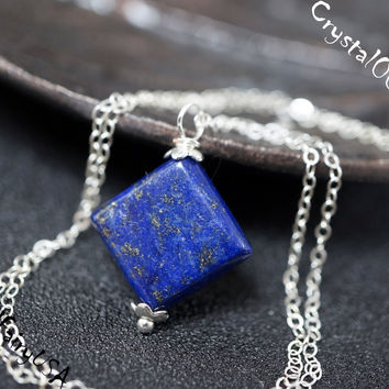 Tiny square diamond lapis lazuli sterling silver necklace