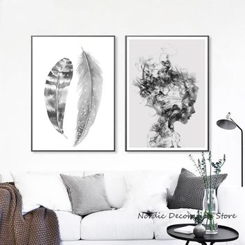 Zwart Wit Poster Black And White Wall Art Nordic Poster Feather Print Posters And Prints Wall Pictures For Living Room Unframed