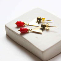 Triangle Stud Earrings with Red Glass Bead - Geometric and Minimalist Jewelry