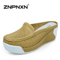 New summer women sandals genuine leather wedge shoes women casual platform sandal comfortable slippers