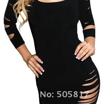 2 color Sexy round neck cut long sleeve costume fancy dress Hot women mini clubbing night KTV wear Summer dresses dress red black = 1945729668