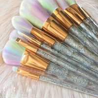 FOEONCO 7PCS Diamond Shape Glitter Powder Handle Unicorn Makeup Brushes Set Foundation Eyeshadow Blending Makeup Brush Tool