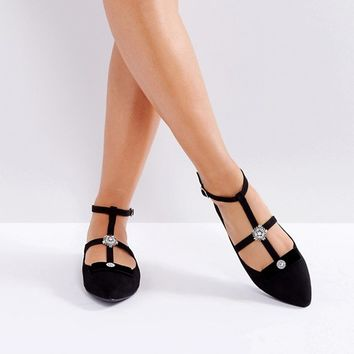 New Look Wide Fit Caged Flat Shoe With Broch Detail at asos.com