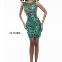 Sherri Hill 9716 - Emerald Beaded High Neck Homecoming Dresses Online
