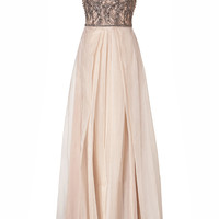 Collette Dinnigan - Embellished Silk Organza Shoestring Gown in Blush