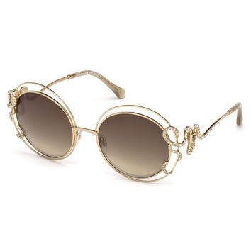 Roberto Cavalli Round Open-Inset Snake Sunglasses, Gold/Brown