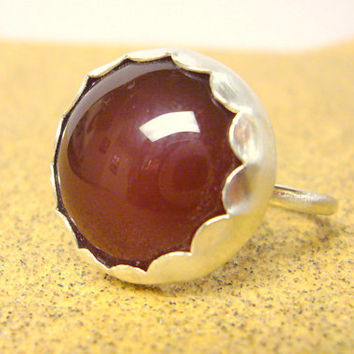Carnelian ring sterling silver ring sterling by WatchMeWorld