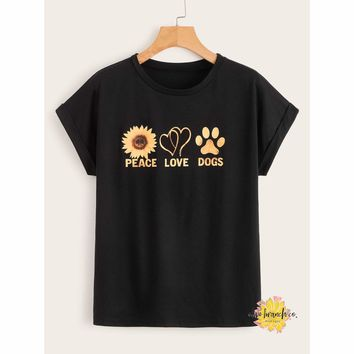 Peace, Love, & Dogs Graphic Tee