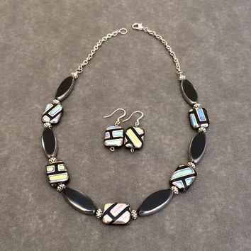 Contemporary Bead Necklace Set Contemporary Jewelry Set Black Silver Necklace Earring Set Glass Bead Necklace Set Fashion Jewelry Gift Her