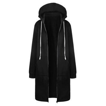 Large Sizes S-5XL 2017 Autumn Winter Long Coat Women Hooded Outerwear & Coats Female Cape Jacket Overcoat Zipper Poncho Black