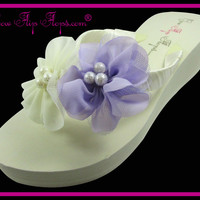 Wedding Flip Flops Ivory & Lavender Pearl Chiffon Tulle Flower Wedge Womens Wedding Platform Satin Flip Flops