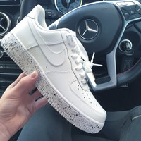 NIKE AIR Force 1 White Starry Sky Sole Women Men Trending Leisure Sneskers B-CSXY White