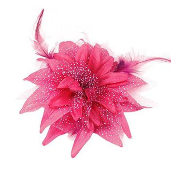 Song Women Dance Wedding Party Hair Clip Head Flower Feather Hairpin Fascinator Hairband Brooch Pin Accessory