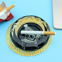 Masonic Round Crystal Ashtray