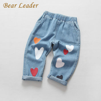 Bear Leader Boys Girls Jeans 2017 Spring Jeans Trousers Cartoon Heart Print Kids Pants Children Clothing Pantalon Fillette 3-7Y