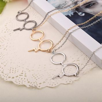Harry black Gold Silver Plated Necklaces Magic Glasses For Potter Fans Boy Girl Fashion Punk Jewelry Necklace pendants Charm