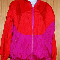 Vintage 80s 90s Geoffrey Hunter Sport Colorblock Fuchsia & Red Nylon Parachute Windsuit Windbreaker  Jacket Size Medium