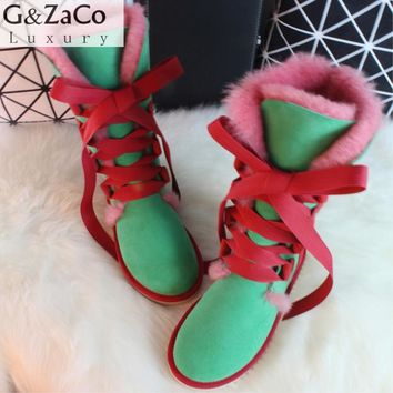 G&Zaco Luxury Winter Knee High Sheepskin Snow Boots Natural Wool Sheep Fur Boots Strap Sweet Bow Women Long Boots Flats Shoe
