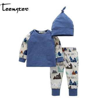 Teenster Newborn Baby Girl&boy Clothes Autumn Long Sleeve Tops&hat&pants 3pcs  Vetement Enfant Fille Kids Baby Twins Set