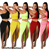 Women Sexy Two Piece One Shoulder Crop Top Skirt Set