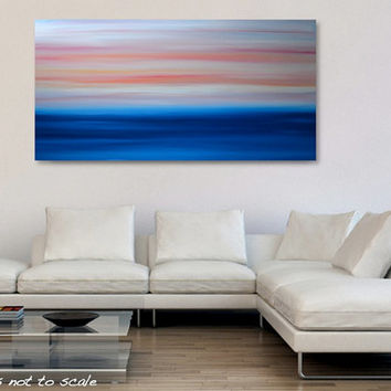 Large 48 x 24 Abstract Ocean Seascape Sunrise Painting - Original Acrylic Canvas Wall Art Decor - Blue, Orange, Pink, Yellow- Huge Wide Long