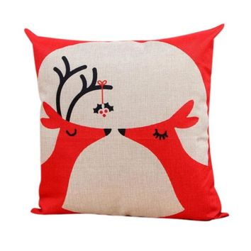 45cm*45cm Vintage Zig Zag Deer Head Cotton Linen bed Decoration Car Decoration Throw Pillow Cushion Home Decor