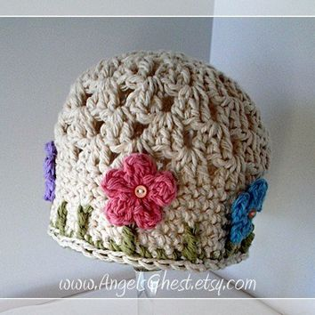 PDF Crochet Pattern Beautiful Spring Beanie Hat with Flowers Instructions for Size Newborn to Adult  No. 16