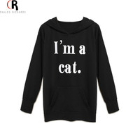 Black Cat Ear Hooded Loose Hoodies Sweatshirt Long Sleeve Front Pocket Letter Print Casual Top 2016 Spring Women New Pullover