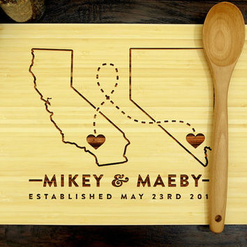 Personalized Cutting Board, Custom Wedding Gift, Where It All Began, Two States, Hearts, California, Nevada, Bridal Shower Gift