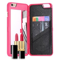 Leather Wallet Mirror Case For iPhone 6 6S For iPhone 6 Plus 6S +