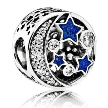 European Love Heart Starry Night With Crystal Beads Charm Fit Women Pandora Bracelet