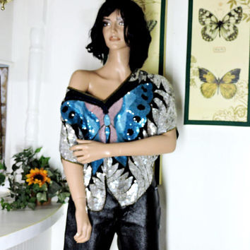 Vintage 80s disco club top / size S / M / sequin butterfly top /black silver aqua pink sequined silk top / 1980s glam rocker top